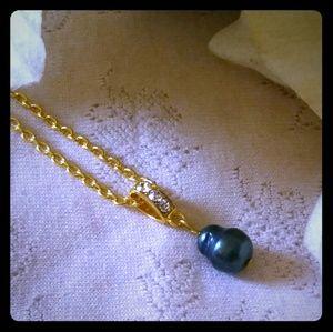 Vintage Black Freshwater Baroque Pearl Necklace